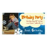 David's Winter Birthday Party Photo Invitation Customised Photo Card