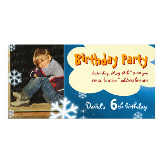 David's Winter Birthday Party Photo Invitation Customised Photo Card