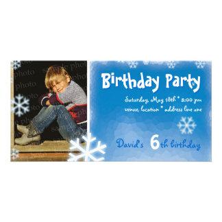 David's Winter Birthday Party Photo Invitation Picture Card