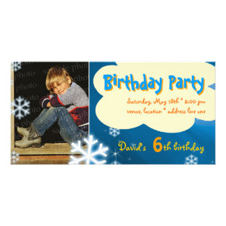 David's Winter Birthday Party Photo Invitation Photo Card
