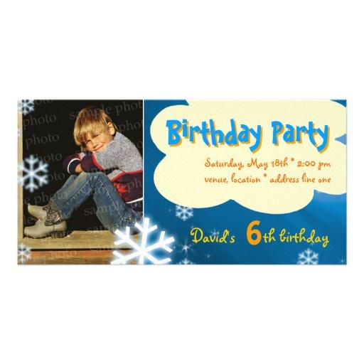 David's Winter Birthday Party Photo Invitation Photo Card