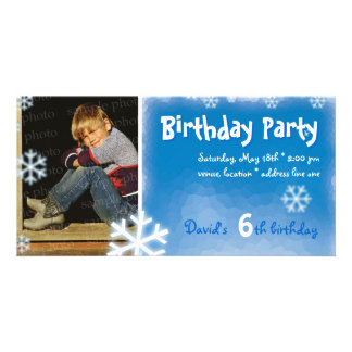 David's Winter Snow Birthday Party Photo Picture Card