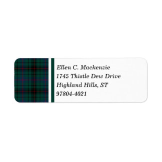 Davidson Clan Dark Green Scottish Tartan Return Address Label