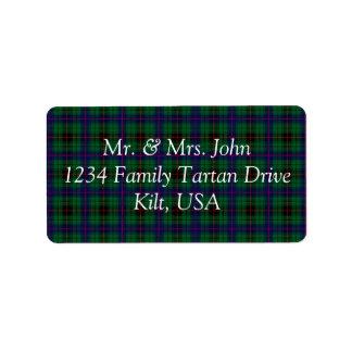 Davidson Tartan Label Address Label