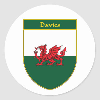 Davies Welsh Flag Shield Stickers