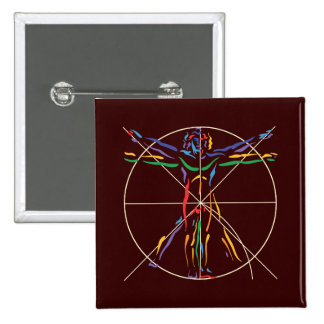 DaVinci Anatomy Man in Chakra Colors 15 Cm Square Badge
