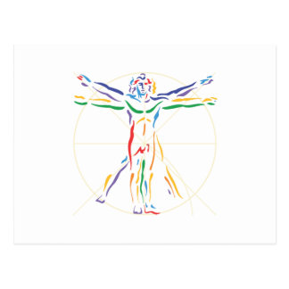 DaVinci Anatomy Man in Chakra Colors Post Card
