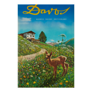 Davos Switzerland Animal Vintage Travel Poster