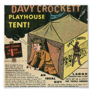 Davy Crockett Playhouse Tent Print