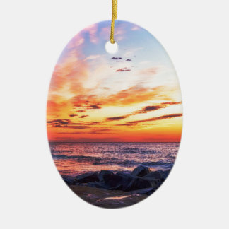 Dawn at 120th Street in Ocean City Maryland Ceramic Oval Decoration