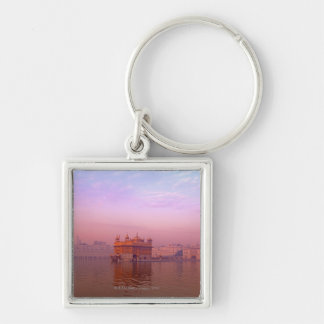 Dawn at The Golden Temple Silver-Colored Square Key Ring