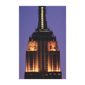 Dawn: Empire State Building still lit up Pink 01 Canvas Prints