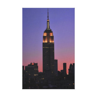Dawn: Empire State Building still lit up Pink 02 Stretched Canvas Prints