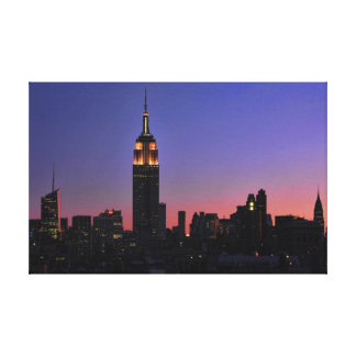 Dawn: Empire State Building still lit up Pink 03 Stretched Canvas Print