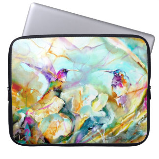 """Dawn Greeting"" Hummingbird Print on Laptop Computer Sleeves"