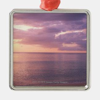 Dawn meets beach Silver-Colored square decoration
