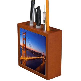 Dawn over San Francisco and Golden Gate Bridge. Desk Organiser