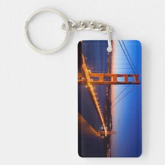 Dawn over San Francisco and Golden Gate Bridge. Double-Sided Rectangular Acrylic Key Ring