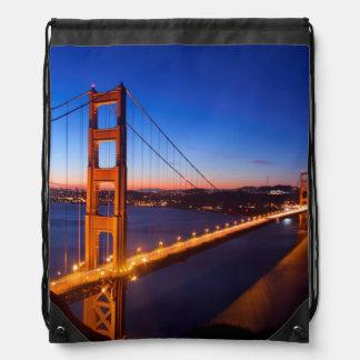 Dawn over San Francisco and Golden Gate Bridge. Drawstring Bag