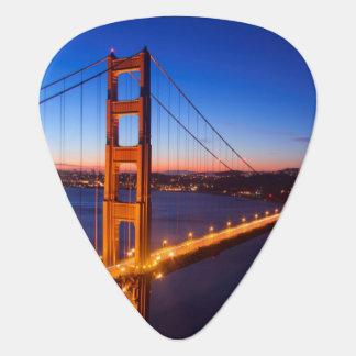 Dawn over San Francisco and Golden Gate Bridge. Guitar Pick
