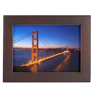 Dawn over San Francisco and Golden Gate Bridge. Keepsake Box