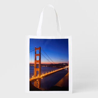 Dawn over San Francisco and Golden Gate Bridge. Reusable Grocery Bag