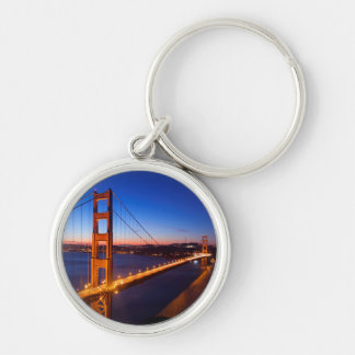 Dawn over San Francisco and Golden Gate Bridge. Silver-Colored Round Key Ring