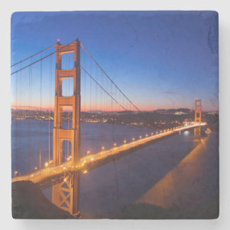 Dawn over San Francisco and Golden Gate Bridge. Stone Beverage Coaster
