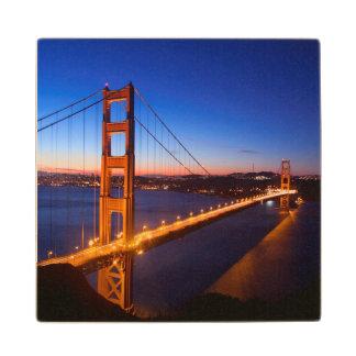 Dawn over San Francisco and Golden Gate Bridge. Wood Coaster