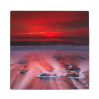 Dawn Over The Stormy Sea Wood Coaster
