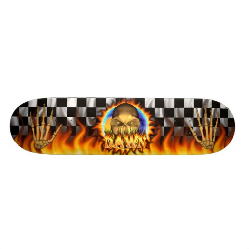 Dawn skull real fire and flames skateboard design