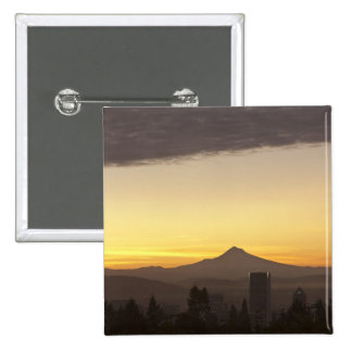 Dawn sky over Portland and Mt. Hood, Oregon 15 Cm Square Badge