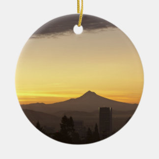 Dawn sky over Portland and Mt. Hood, Oregon Christmas Ornament