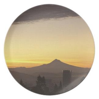 Dawn sky over Portland and Mt. Hood, Oregon Plates