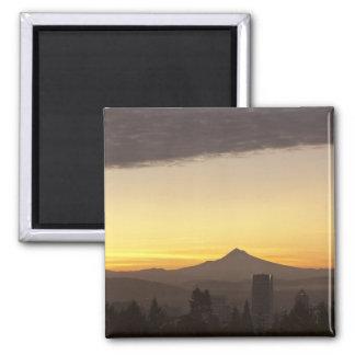 Dawn sky over Portland and Mt. Hood, Oregon Square Magnet