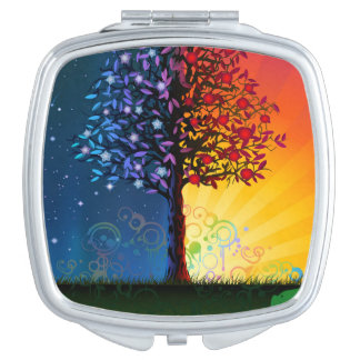 Day And Night Tree Compact Mirrors