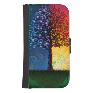 Day And Night Tree Samsung S4 Wallet Case
