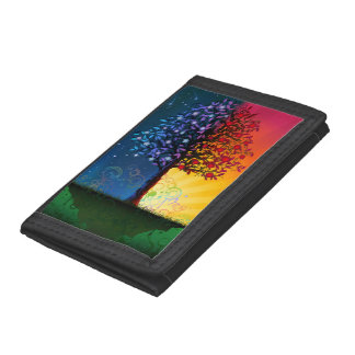 Day And Night Tree Tri-fold Wallets