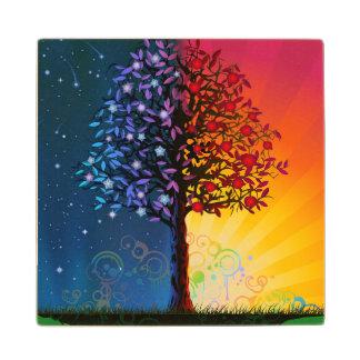 Day And Night Tree Wood Coaster