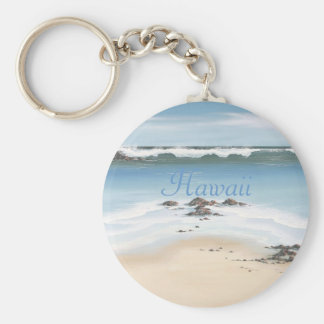 day at the beach-Hawaii Basic Round Button Key Ring