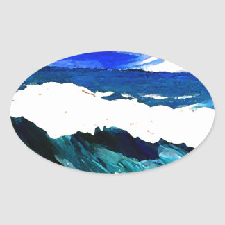 Day At The Ocean 2 - Ocean Waves CricketDiane Oval Sticker