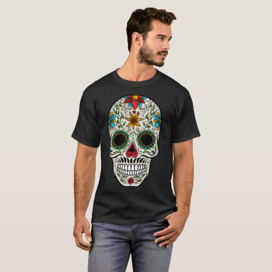 Day Dead Sugar Skull Men Basic Dark T-Shirt