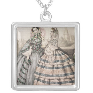 Day Dress for 1858, engraved by Barreau Silver Plated Necklace