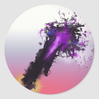 Day Ending Abstract Design Round Sticker