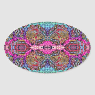 Day-Glo Pattern Drench Oval Sticker