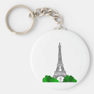 Day In Paris Basic Round Button Key Ring