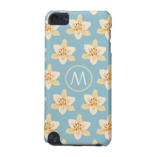 Day Lily Illustrative Ptn on Lt Blue(Personalized) iPod Touch (5th Generation) Case