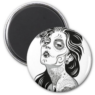 Day of dead sexy girl with roses 6 cm round magnet