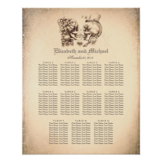 Day of Dead Skull Couple Wedding Seating Chart Poster