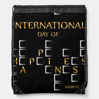 Day of Happiness- Commemorative Day March 20 card Drawstring Bag